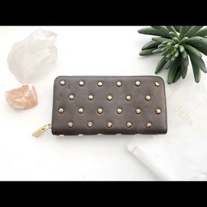 DEUX LUX GRAY LEATHER + GOLD STAR STUDDED WALLET